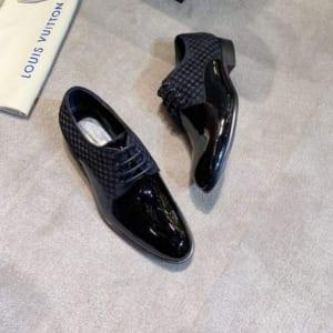 Giày nam Louis Vuitton siêu cấp đen bóng họa tiết ô vuông