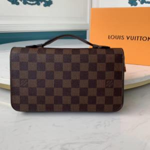 Ví nam Louis Vuitton siêu cấp cầm tay caro nâu
