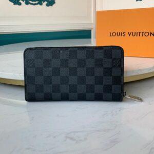 Ví nam Louis Vuitton like au khóa kéo họa tiết caro đen VNLV32