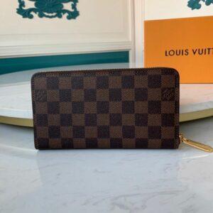 Ví nam Louis Vuitton like au khóa kéo họa tiết caro nâu VNLV37