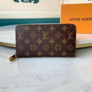 Ví nam Louis Vuitton like au khóa kéo họa tiết hoa nâu VNLV35