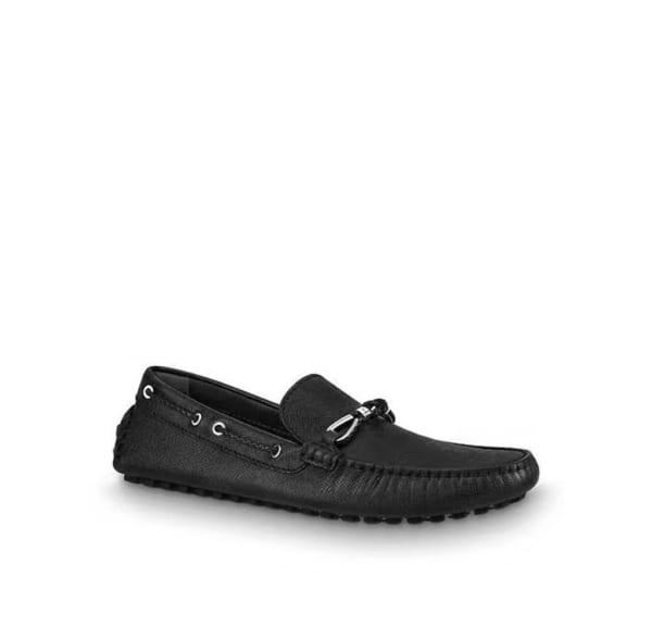 Giày lười Louis Vuitton like au họa tiết nơ màu đen GLLV15