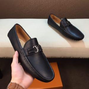 Giày lười Louis Vuitton da nhăn màu đen GLLV07