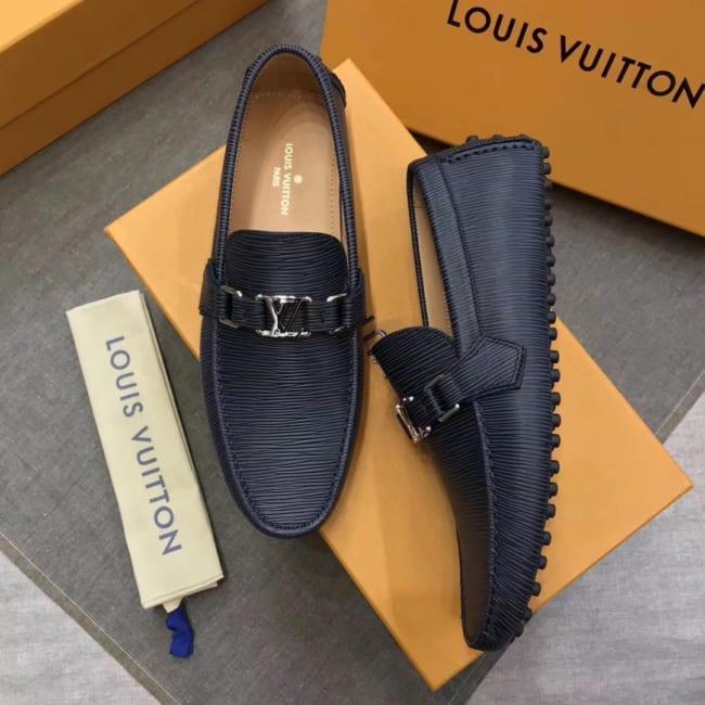 Giày lười Louis Vuitton họa tiết da epi màu xanh bản Like Au GLLV05