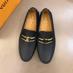 Giày lười Louis Vuitton siêu cấp họa tiết mặt vàng GLLV08