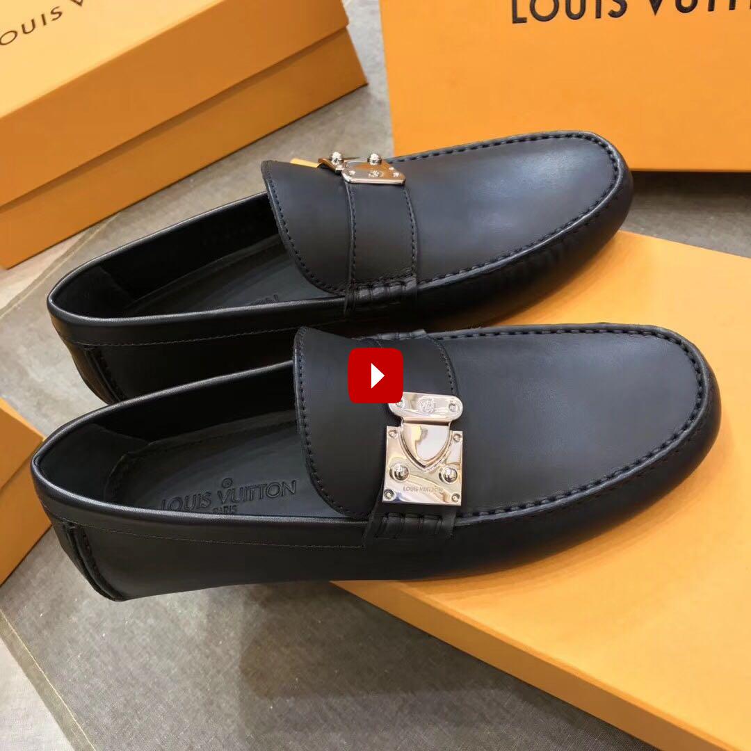 Giày lười Louis Vuitton họa tiết tag lệch bản Like Au 1:1 GLLV18