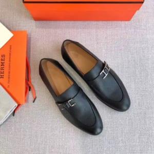 Giày lười Hermes siêu cấp da dám màu đen