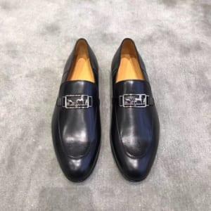 Giày lười Hermes siêu cấp mặt khóa họa tiết tuần lộc màu đen