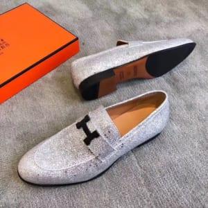 Giày lười Hermes siêu cấp mặt khóa logo màu nhũ bạc