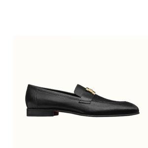 Giày lười Hermes siêu cấp mặt khóa logo màu đen