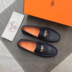 Giày lười Hermes siêu cấp da trơn họa tiết móc khóa