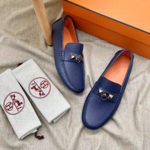 Giày lười Hermes like au họa tiết mũi trâu màu xanh GLH36