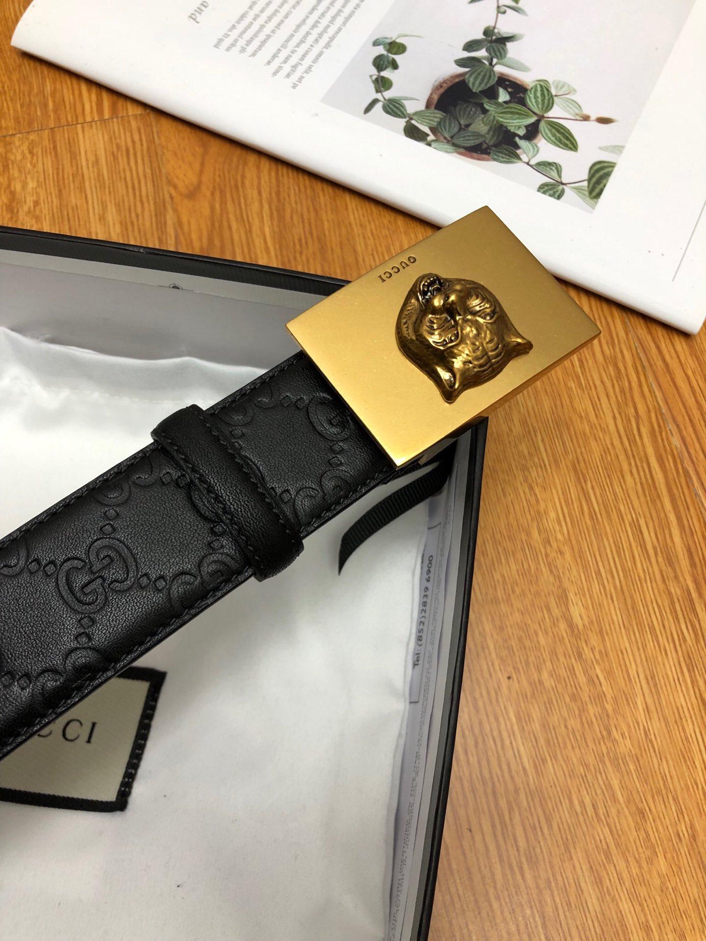 Thắt lưng nam Gucci họa tiết logo mặt khóa hổ TLGC66