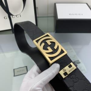 Thắt lưng nam Gucci họa tiết logo mặt khóa vuông màu vàng TLGC68