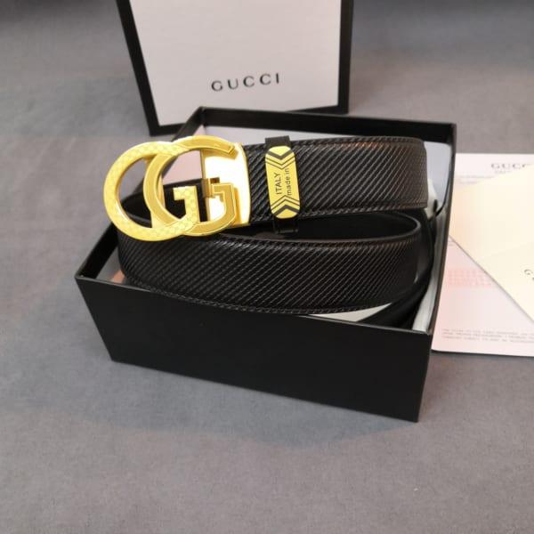 Thắt lưng nam Gucci khóa chữ g kép màu vàng TLGC64