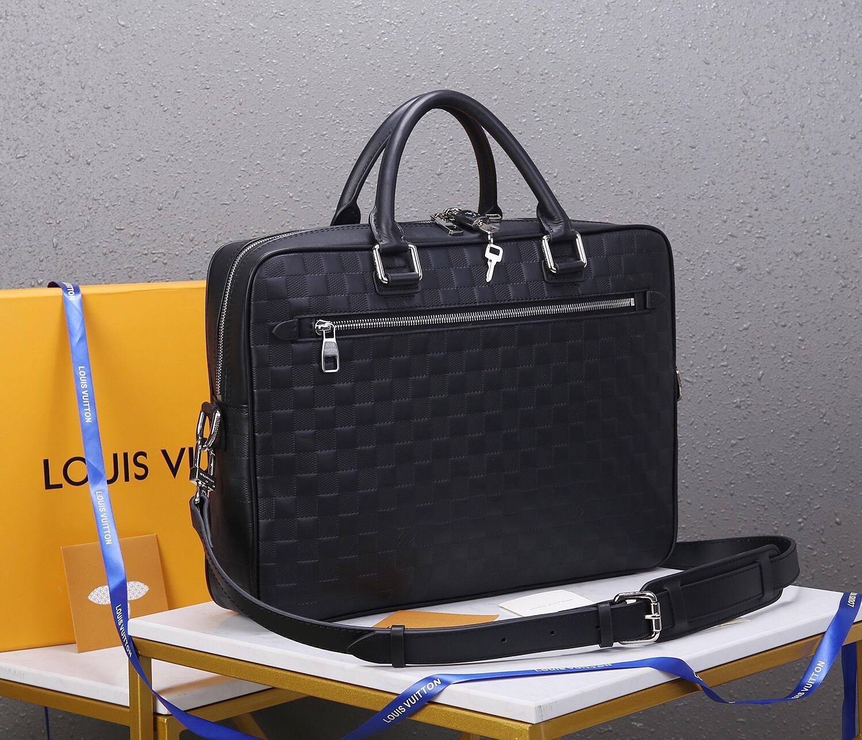 Túi xách nam Louis Vuitton siêu cấp họa tiết kẻ ô màu đen TXLV12
