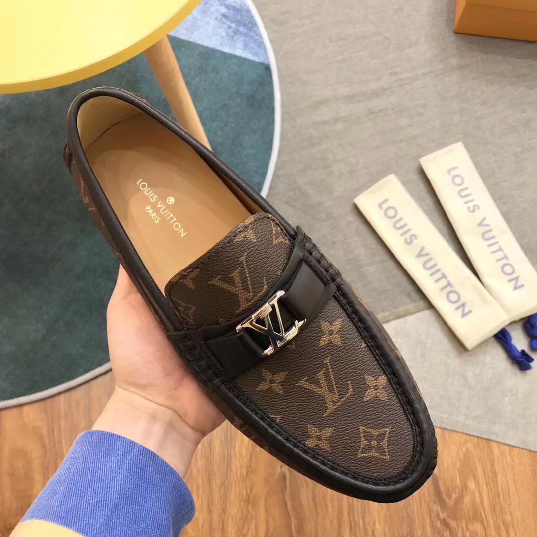 Giày lười Louis Vuitton like auth họa tiết hoa nâu GLLV87