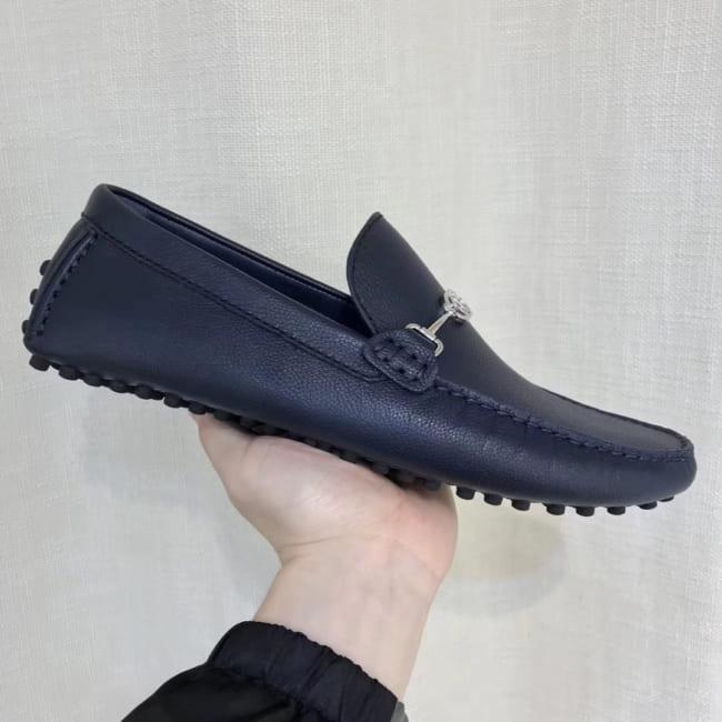 Giày lười Louis Vuitton like auth tag logo trơn màu xanh GLLV88