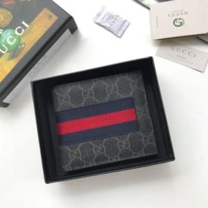 Ví nam Gucci siêu cấp bỏ túi họa tiết logo xanh viền kẻ đỏ VNG97