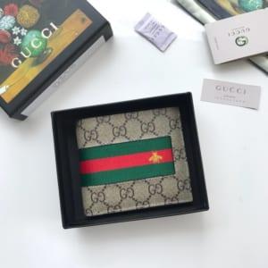 Ví nam Gucci siêu cấp bỏ túi họa tiết ong viền kẻ đỏ VNG95