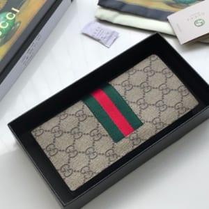 Ví nam Gucci siêu cấp gấp họa tiết logo viền kẻ đỏ VNG86