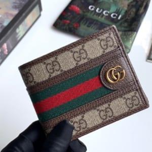 Ví nam Gucci siêu cấp họa tiết logo màu be viền kẻ đỏ VNG88