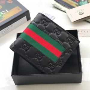 Ví nam Gucci siêu cấp họa tiết logo dập viền kẻ đỏ VNG87