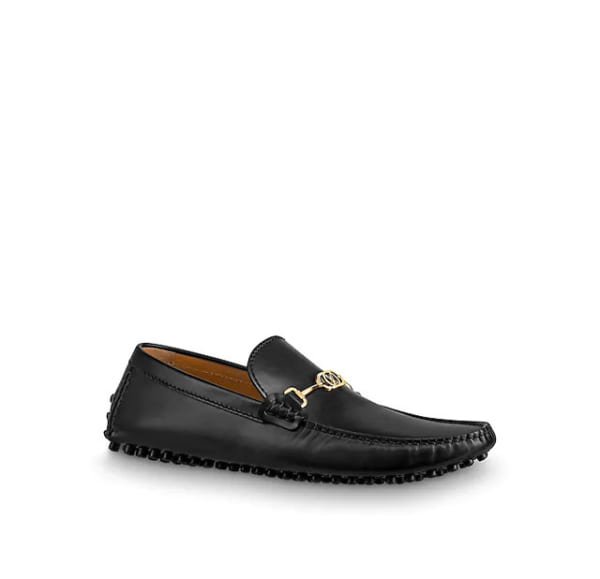 Giày lười Louis Vuitton like auth da lỳ họa tiết logo nhỏ GLLV96