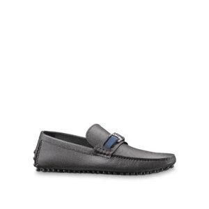 Giày lười Louis Vuitton like auth da taiga màu đen tag xanh GLLV92