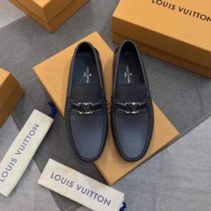 Giày lười Louis Vuitton like auth da taiga màu ghi GLLV91