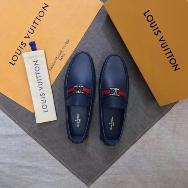 Giày lười Louis Vuitton like auth da taiga màu xanh tag đỏ GLLV93
