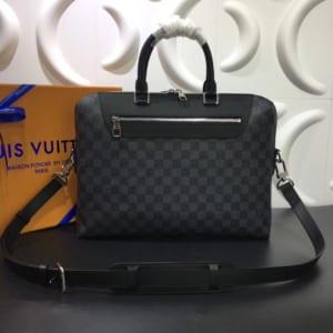 Túi xách nam Louis Vuitton họa tiết caro ghi đen TXLV17