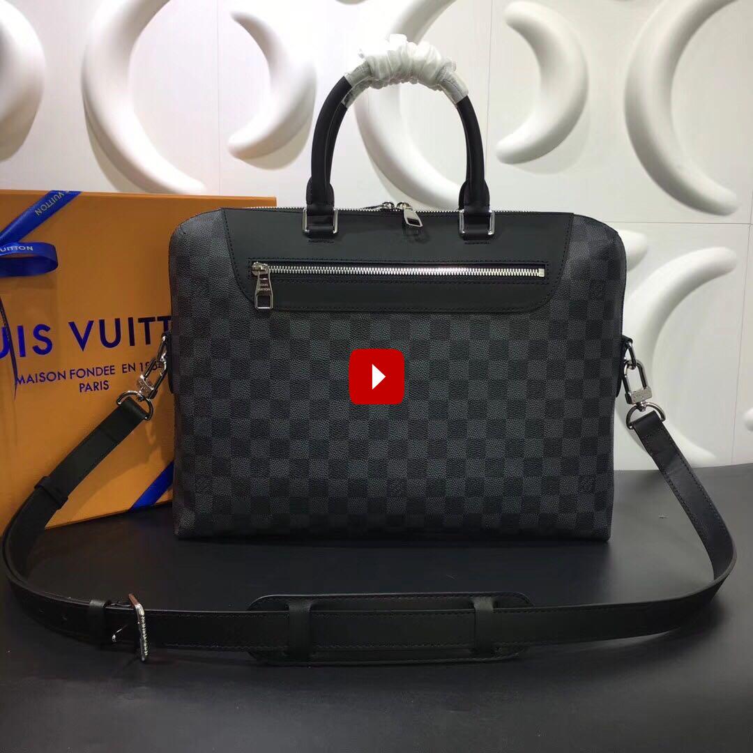 Túi xách nam Louis Vuitton like au họa tiết caro ghi đen TXLV16