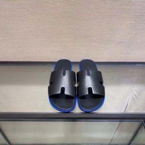 Dép Hermes nam siêu cấp họa tiết da trơn mà đen viền kẻ xanh DNH01