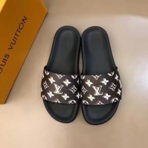 Dép Louis Vuitton siêu cấp nam màu đen quai nâu họa tiết hoa trắng DLV05