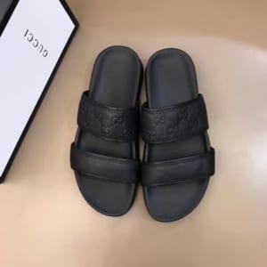 Dép nam Gucci siêu cấp hai quai da trơn màu đen DGC01