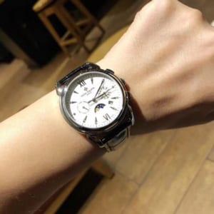 Đồng hồ Patek Philippe siêu cấp nam mặt tròn dây da họa tiết cá sấu DHP01