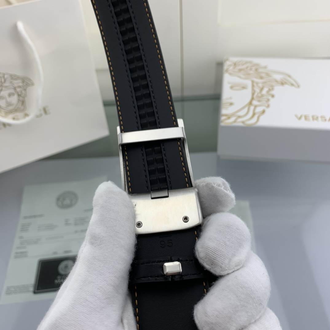 Thắt lưng nam Versace siêu cấp mặt vuông khóa tự động TLVS36