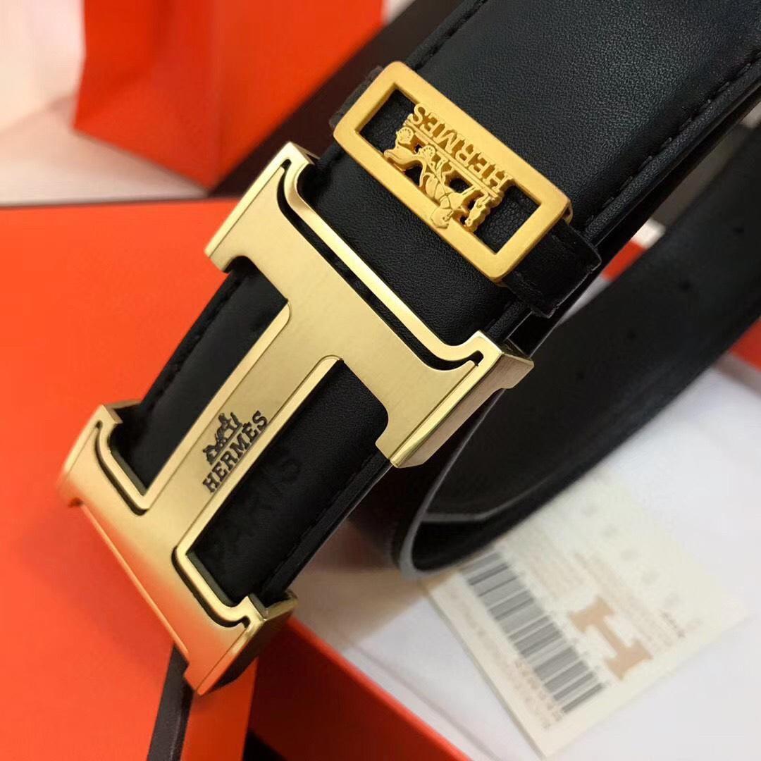 Thắt lưng nam Hermes siêu  họa tiết chữ H viền đen TLH41
