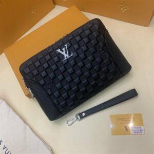Ví nam Louis Vuitton siêu cấp cầm tay da dập caro khoá trắng VNLV64