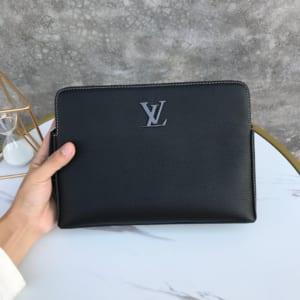 Ví nam Louis Vuitton siêu cấp cầm tay họa tiết da nhăn màu đen VNLV65