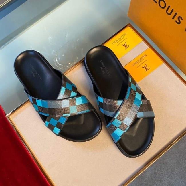 Dép Louis Vuitton nam siêu cấp họa tiết caro nhiều màu DLV31