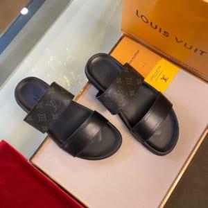 Dép Louis Vuitton nam siêu cấp họa tiết hoa đen trơn hai quai DLV29
