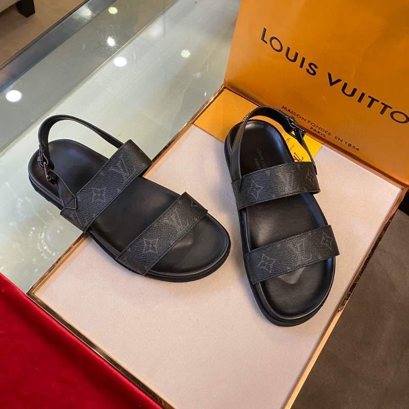 Dép Louis Vuitton nam siêu cấp họa tiết hoa đen quai hậu DLV33