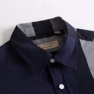 Áo Burberry nam siêu cấp họa tiết kẻ đen ghi dài tay AOB05