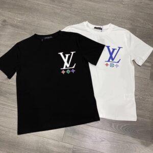 Áo Louis Vuitton nam siêu cấp cổ tròn họa tiết logo AOLV02