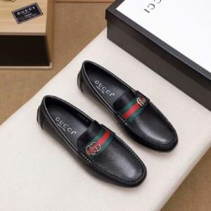Giày lười Gucci siêu cấp da nhăn họa tiết khóa lệch GLGC55
