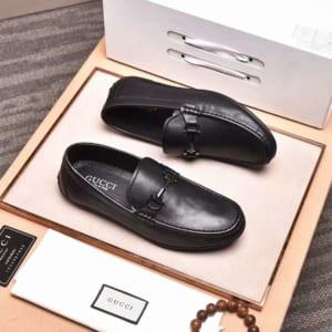 Giày lười Gucci siêu cấp họa tiết da trơn màu đen GLGC52