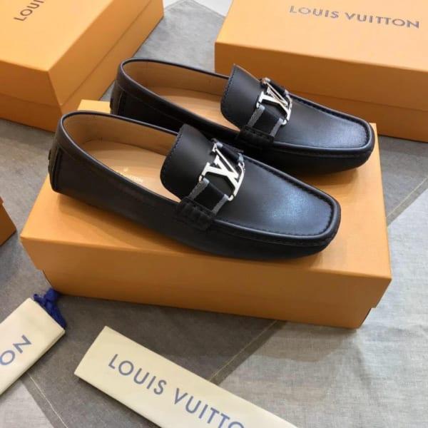 Giày lười Louis Vuitton like auth họa tiết da lỳ GLLV105