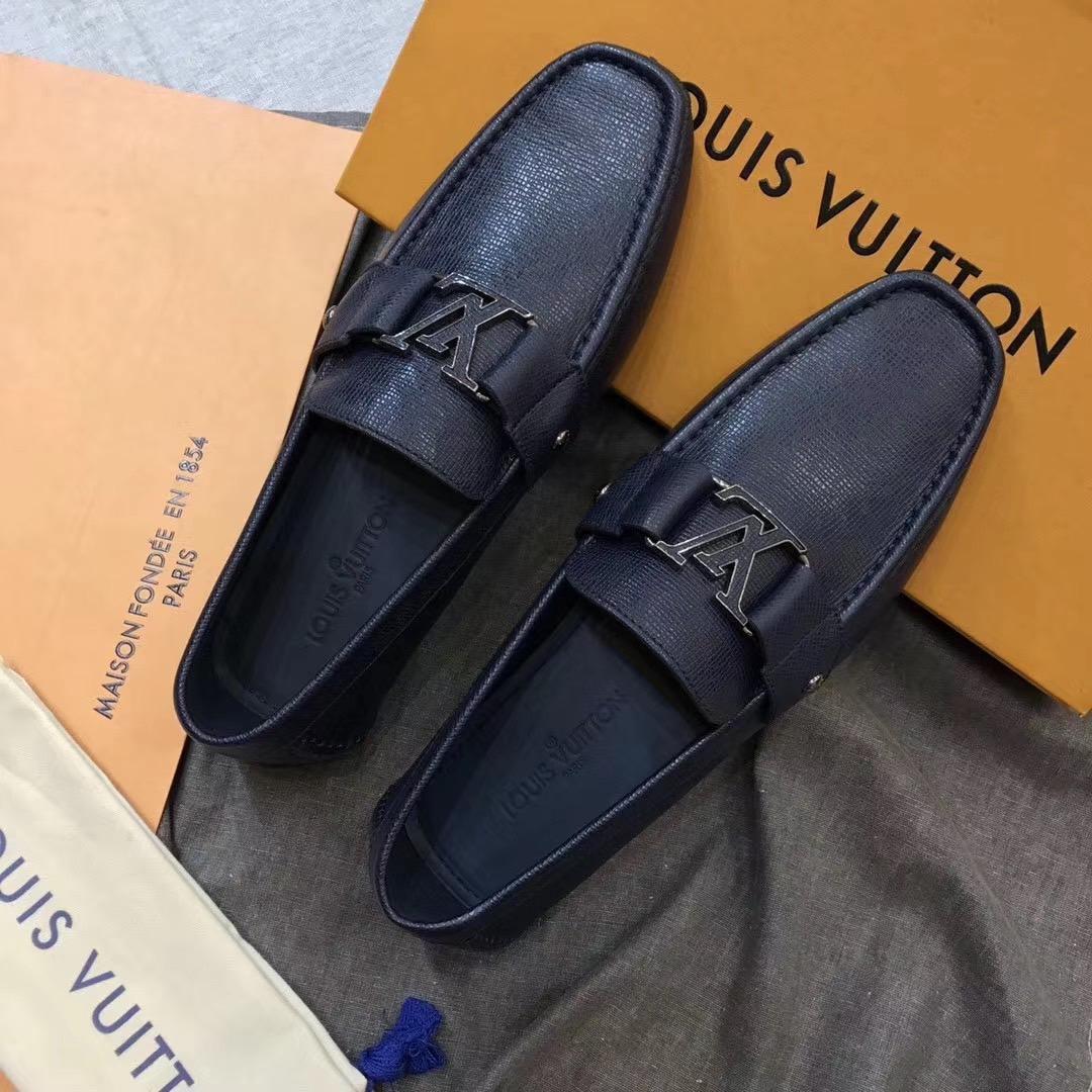 Giày lười Louis Vuitton like auth họa tiết da ráp GLLV104